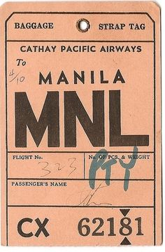 Cathay Pacific Airlines - MNL Manila | Flickr - Photo Sharing! #baggage #tag #luggage
