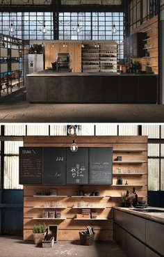 FACTORY Kitchen with peninsula Factory Collection by Aster Cucine design Lorenzo Granocchia 예쁜 메뉴판과 조명을 달을것