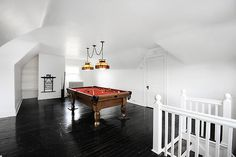 Antique Lighting in a Modern Interior #interior #billiards #red #white #and #modern #black #pool #contrast #antique