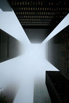 fog and skyscrapers #new york #building #fog #skyscrapers