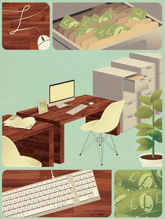 Jack Hughes Illustration #illustration #office #items