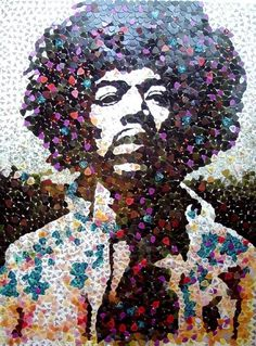 5,000 Guitar Picks form Jimi Hendrix's Face — Illusion - The Most Amazing Creations in Art, Photography, Design, Optical Illusions, Technology and #jimi #mosaic #hendrix