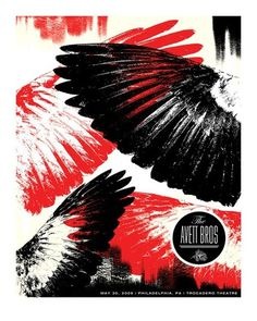 Baubauhaus. #red #print #black #birds #poster