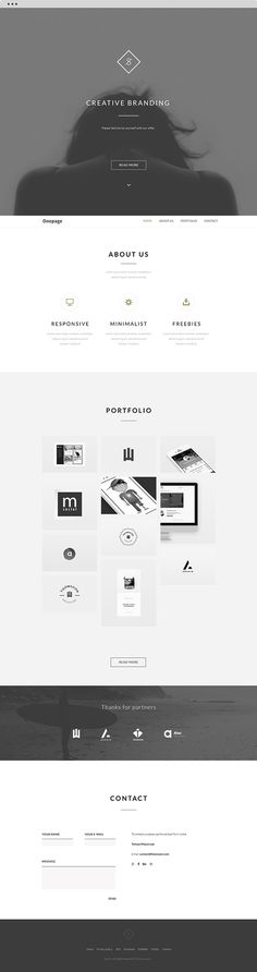 FREE Landing Website | Clean theme | Behance API + PSD on Behance #free #web #minimal #ui