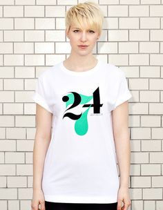 NATRI - 24/7- white t-shirt - women: twenty-four-seven - eight to eight #modern #print #design #shirt #minimal #fashion #type #typography
