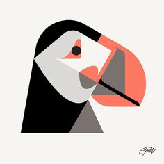 Atlantic Puffin by Josh Brill #icon #iconic #picto #illustration #animal #bird #puffin