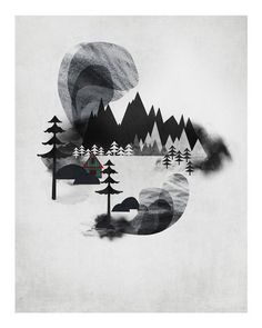 Villages I by Adam Hancher - Adam Hancher - Gallery #illustration #white #black #and