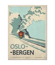 Retro travel poster Norway Oslo Bergen train railroad image 1