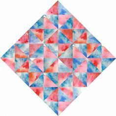 Daniela Salgado / Pinterest #print #orange #geometric #art #blue #watercolor #prism
