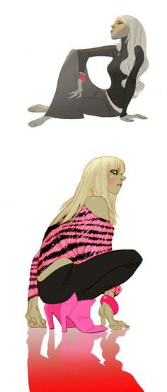 Illustrations by Annette Marnat | Inspiration Grid | Design Inspiration #stripes #illustration #girl #crouch
