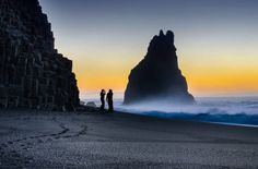 Reynisdrangar rock , Reynisfjara Beach at sunrise time, Vik, Iceland