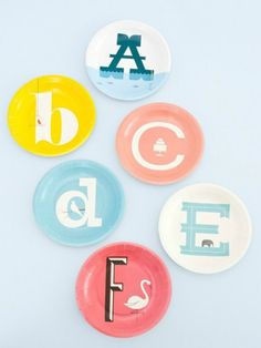 Paper Alphabet Plates for Kids from PaperMash #interior design #decoration #decor #deco