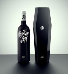 lovely-package-daniel-brokstad1-e1331367820810.jpg (538×585) #ghost #lettering #bottle #haunting #black #pentagram #coffin