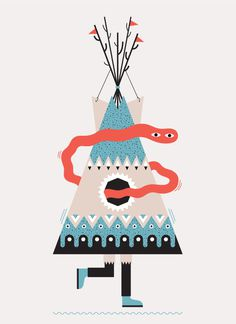 Nomad #tent #illustration #indian #tipi