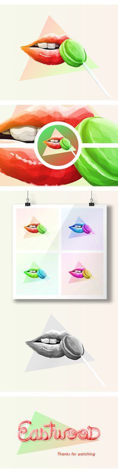 Lollipop on Behance #lick #lips #design #sweet #illustration #lollipop #colour