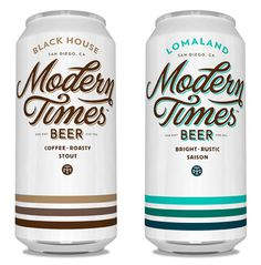 Modern Times Beer Cans #beer #stripes #script #vintage