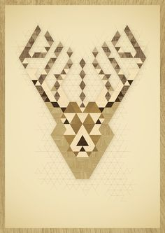 ANIMAL PORTRAITS #wood #illustration #poster #reindeer