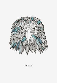 #eagle #illustration #art #posterdesign #print #black #color #blue