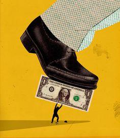 Emmanuel Polanco / Les InRockuptibles magazine / Colagene.com #foot #illustration #leather #vintage #man #collage #money #madmen