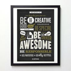 Motivational Typography Poster Be kind Be greater by NeueGraphic #quote #motivational #poster #typography
