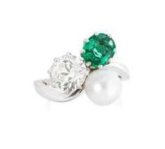 Diamond-Emerald-Natural Pearls-Ring