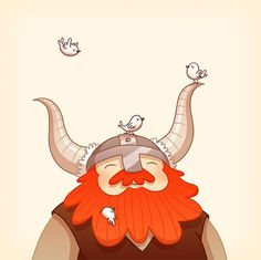 Happy Viking by Anneka Tran #birds #beard #viking #illustration