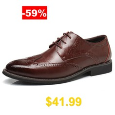AILADUN #England #Style #Men's #Business #Casual #Leather #Dress #Shoes #Big #Yards #- #DEEP #BROWN