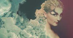 Smokey ink plume transitioning into beauty portrait