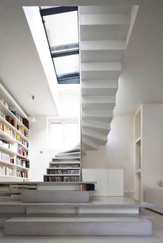 CJWHO ™ #white #design #interiors #books #reading #stairs