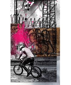 La Lucha Sigue by Eyeone, 2016 #eyeone #mixedmedia #printmaking #art #mexicocity #cycling