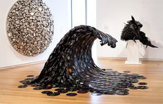Sound Wave a sculpture by Jean Shin I Art Sponge #sculpture #wave #vinyl #sound #shin #jean #records