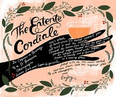 OSBP St Germain New Years Eve Cocktail Recipes Dinara Mirtalipova Entente Cordiale #drink #illustration #lettering #recipe