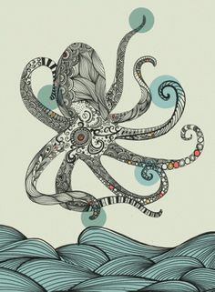 this inspires me to master Illustrator. - +++wolf+willow+++ #illustration #sea #octopus
