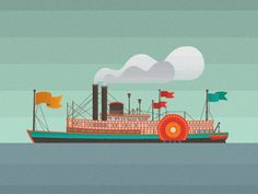 Dribbble - Steamboat_Attach.png by Kristen Brenner #halftone #steamboat #kristen #illustration #boat #brenner
