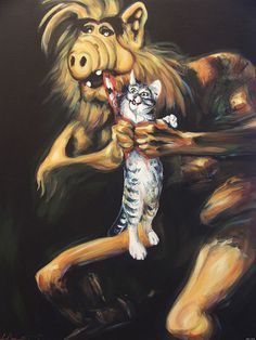Hillary White #goya #alf #cat #painting