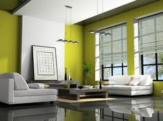 interior_green-white.jpg 745×559 pixels #interior #decor #green