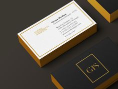 GIS Golden Investment & Services™ Luxury Real Estate on Branding Served #stationary #business #card #design #black #corporate #gold