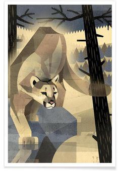 Mountain Lion Illustration by Dieter Braun #illustration #animal #geometric #minimal #icon #iconic #lion