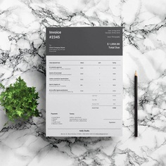 Bill Template | Black Invoice | Stylish Invoice | Blank Invoice | Invoice Instant Download | Professional Invoice Template