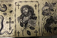 oliver macintosh | Tumblr #jesus #tattoo #flash #rose