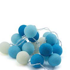 String Lights Cotton Ball Blue