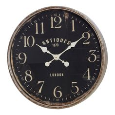 Ulrich Grey & Black Metal Wall Clock, 60 cm D