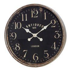 Ulrich Grey & Black Metal Wall Clock, 60 cm D