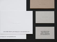 Stationery with blind emboss detail and uncoated boards for photographer Giles Duley designed by Shaz Madani #identity #photographer