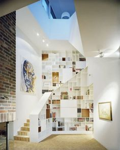 'Villa J' by Marge Arkitekter (SE) @ Dailytonic #interior #furniture #stairs #shelves