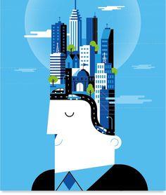 BBVA Corporative Illustration #urban #vector #businessman #global #ideas #corporate #illustration