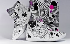 orchid on the Behance Network #white #shoes #lines #pink #black #geometric #paint #handmade #orchid #flowers