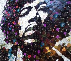 Jimi Hendrix portrait made from 5000 guitar picks | Projects | Gear #pics #hendrix