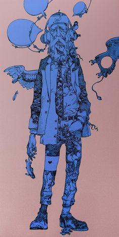 katsuya teradas 09 #blue #drawing #pink #guy #line drawing