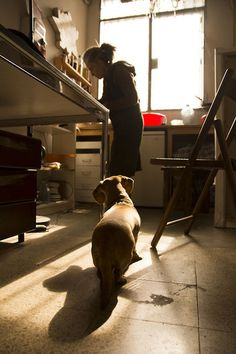 Marta and Festival working at the atelier #ritafortuny #atelier #dog #from #lithography #rita #the #sodafromthehut #master #photography #litography #hut #soda #light #fortuny #work
